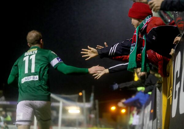 Cork City's Stephen Dooley interacts with the fans on his way into the changing rooms. Picture: INPHO/Tommy Dickson