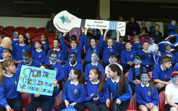 Rushbrooke pupils cheer on their team against Carrigtwohill. Picture: Larry Cummins