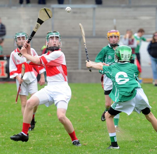 Ben Hutchinson of Scoil Chroí Íosa, Blarney, being challenged by Sean Owens of Clonpriest NS. Picture: Denis Minihane.