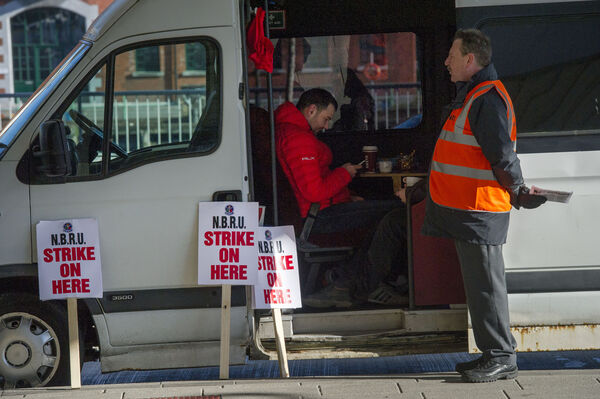 Bus Éireann strike at Cork City Bus Station at Parnell Place. Pic Daragh Mc Sweeney/Provision