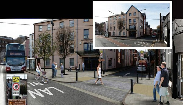 A before and after image showing the planned works at Sheares Street under the Cork City Centre Movement strategy.