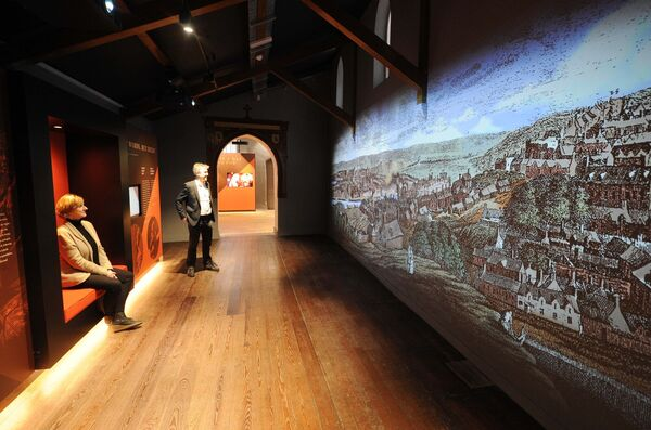Dr. Danielle O'Donovan, programme manager, and Shane Clarke, CEO, Nano Nagle Place, looking at an exhibition video of 18th century Cork. Picture: Denis Minihane.