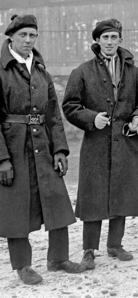 ENEMY WITHIN: Two British Auxiliaries at Lower Glanmire Road station in Cork in 1921. They represented the officer class of the British army but were centre stage during the Burning of Cork