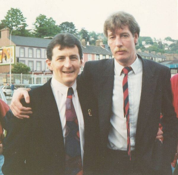 Former Cork City boss John Caulfield, left, and the late Paul Bannon pictured at Kent Station in 1993.