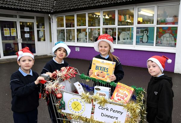 James, Rayane, Abigail and Tommy who are among all the pupils of Scoil Ghleanna Maghair Íochtaraigh (New Inn), Cork, who are collecting non-perishable food and toiletries for Cork Penny Dinners.
