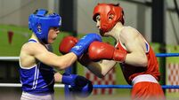 20200215 Boxing - Boys County Championships 2020 - Eoghan Walsh of Togher and Donal Lucey of Rylane in action during the County
