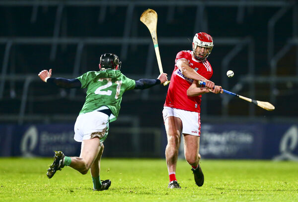 Cork's Daire O'Leary and Limerick's Mark McCarthy in the Bord Gáis Munster hurling semi-final at Gaelic Grounds. Picture: INPHO/Ken Sutton