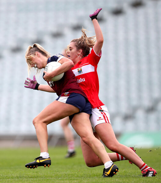Cork's Maire O'Callaghan and Jo Hanna Maher of Westmeath in action. Picture: INPHO/Bryan Keane