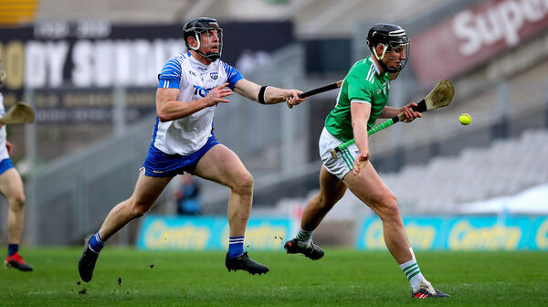 Waterford's Kevin Moran tries to stop Gearóid Hegarty of Limerick. Picture: INPHO/Ryan Byrne
