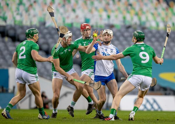 Jack Fagan is swallowed up by Limerick's defence. Picture: INPHO/Morgan Treacy