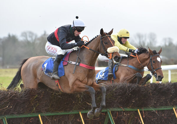 Queens River, Derek O'Connor going over the last just ahead of Getaway Lily Bear, Eoin Mahon. Picture: Dan Linehan