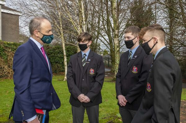 Pictured with An Taoiseach, Micheál Martin, TD are pupils Corey Murphy, Evan Green and Kyle Morey, all members of the school's History Club.