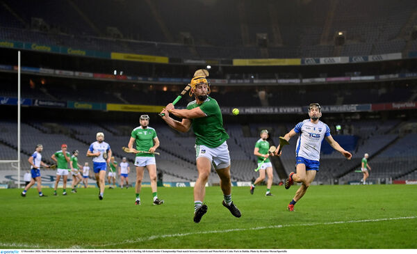 Tom Morrissey of Limerick in action against Jamie Barron of Waterford. Morrissey and Gearóid Hegarty were in lethal form from the wing-forward slots. Picture: Brendan Moran/Sportsfile