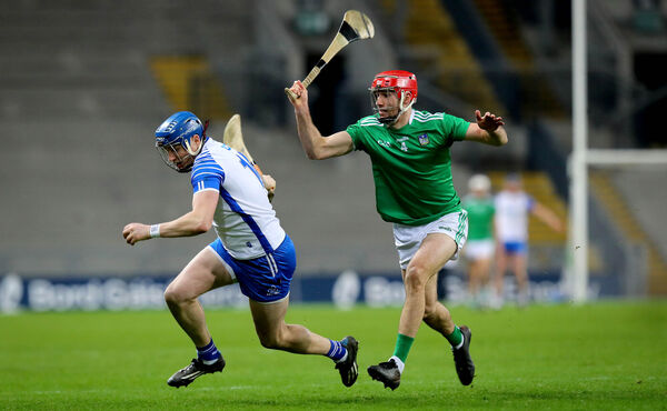 Waterford's Austin Gleeson and Barry Nash of Limerick. Picture: INPHO/Ryan Byrne