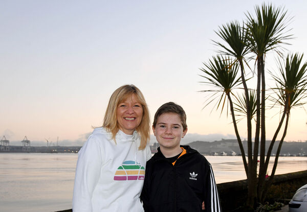 Marisa Geary and her son Ríain take a break during  a run. Picture: Denis Minihane.