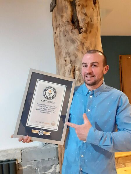 James Duggan with his Guinness Book of Records certificate.