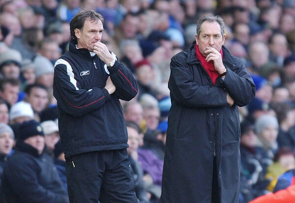 File photo dated 29-02-2004 of Liverpool Manager Gerard Houllier (right) with his assistant Phil Thompson. PA Photo. Issue date: Monday December 14, 2020. Tributes have been paid to former Liverpool manager Gerard Houllier, who has died at the age of 73. See PA story SOCCER Houllier. Photo credit should read John Giles/PA Wire.