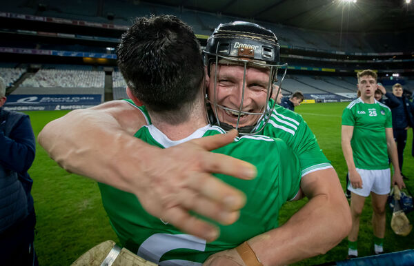 Limerick's Declan Hannon and Peter Casey celebrate winning the All Ireland Hurling Final