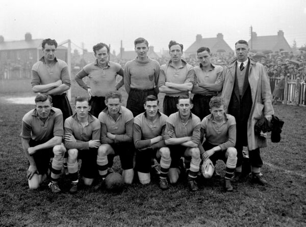 The Evergreen United team who played Shamrock Rovers in the FAI Cup at Turner's Cross. Included are Florrie Burke (back row, extreme left) 22/02/1953