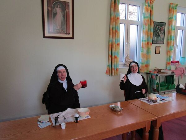 Sr Francis and Sr Colette Marie having a cuppa and social distancing at the convent in Cork.