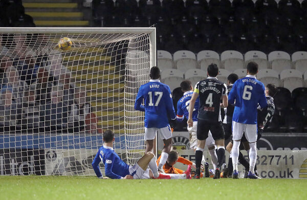 St Mirren's Conor McCarthy scores the winner. Picture: Andrew Milligan/PA Wire.