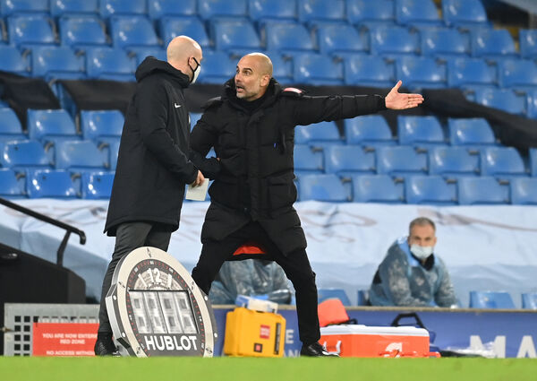 A frustrated Manchester City manager Pep Guardiola appeals to an official during the Premier League match against West Brom at the Etihad Stadium, Manchester on Tuesday.  Picture: Michael Regan/PA Wire