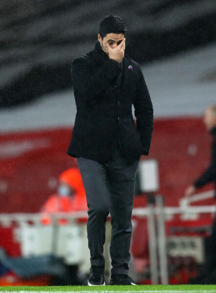 Arsenal manager Mikel Arteta shows his frustration on the touchline during the Premier League match at Emirates Stadium against Burnley.  Picture: Catherine Ivill/PA Wire.