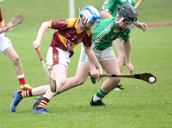 Samuel O'Driscoll, Aghada, gets the ball ahead of Gearoid Geary, Youghal, in the Rebel Óg U14 P2 hurling final, won by Aghada. Picture: John Hennessy
