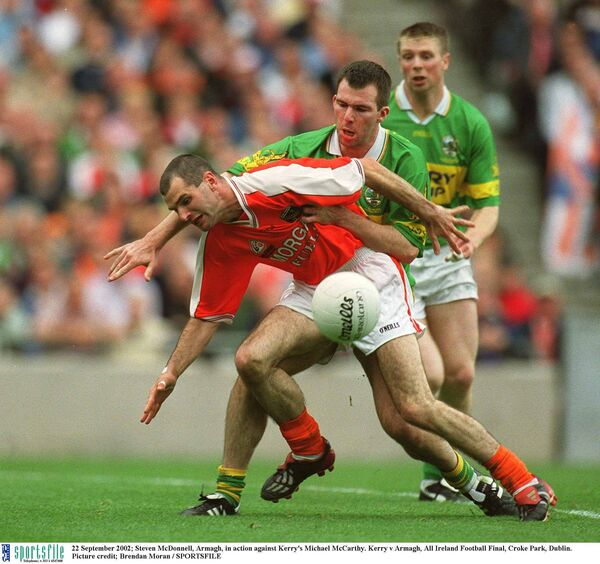 Steven McDonnell of Armagh in action against Michael McCarthy of Kerry. Picture: Brendan Moran/Sportsfile