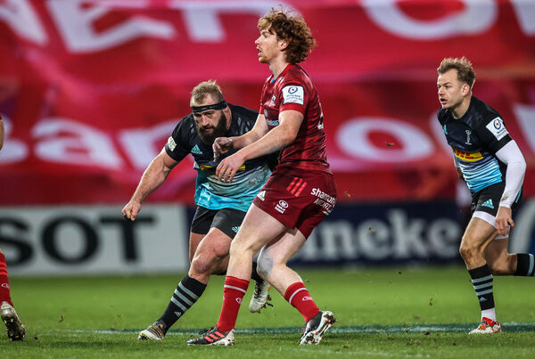 Harlequins Joe Marler lines up a late tackle on Ben Healy of Munster