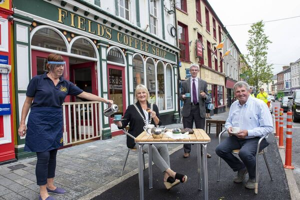 Mayor of the County of Cork, Cllr. Mary Linehan Foley sampling some of West Cork Hospitality courtesy of Field's Coffee Shop in Skibbereen. From left; Bernie Crowley, Field's; Nial Healy, Cork Co Co and John Field, prop. Field's SuperValu, Skibbereen.