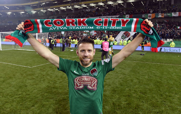 Cork City legend Alan Bennett celebrates a win over Dundalk in the FAI Cup final at the Aviva Stadium. Picture: Eddie O'Hare