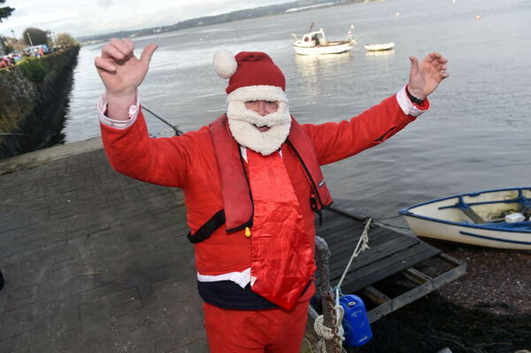 Willie O'Callagan, safety officer on duty at the Passage GAA club Christmas day swim at Passage West , Co. Cork. Picture: Eddie O'Hare