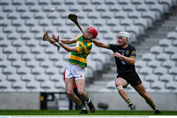Alan Connolly of Blackrock in action against Adam Lynch of Glen Rovers. Picture: Sam Barnes/Sportsfile