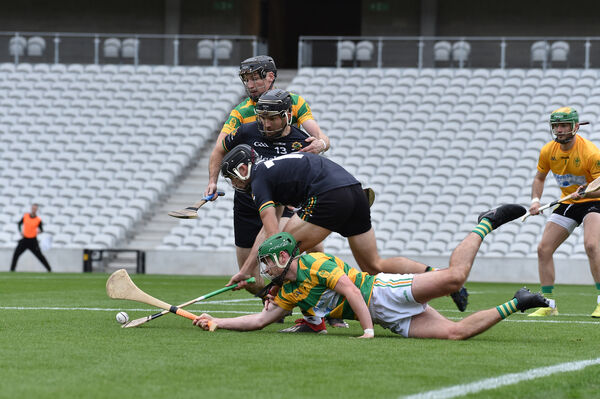 Glen Rovers' Simon Kennefick fighting for this ball withJamie Ryan of Blackrock. Picture: Dan Linehan