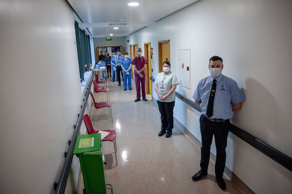Staff at CUH pictured lining up to receive the first doses of the Covid 19 vaccine at Cork University Hospital.