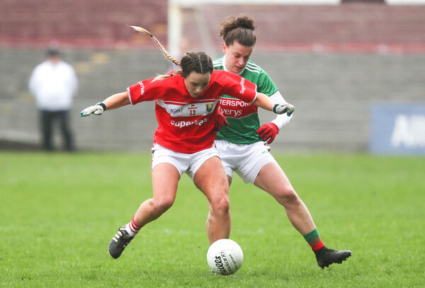 Cork's Orlagh Farmer and Kathryn Sullivan of Mayo. Picture: INPHO/Bryan Keane