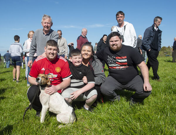 Aaron Freyne, with Jamies Lady the winner of the Senior International Cup at the International draghunt at Grange, Timoleague, West Cork. Also included are, William Freyne, Shirley and Jamie Quiligan, Martin and Michael Freyne. Picture Dan Linehan