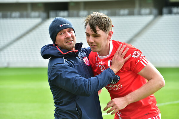 Charleville manager Claude Gough with Jack Barry. Picture: Dan Linehan