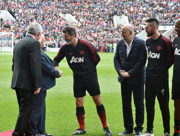 Roy Keane meets the president Michael D Higgins, with Michael O'Flynn, with United's Micky Phelan and Mark McNulty at the Liam Miller tribute match. Picture: Eddie O'Hare