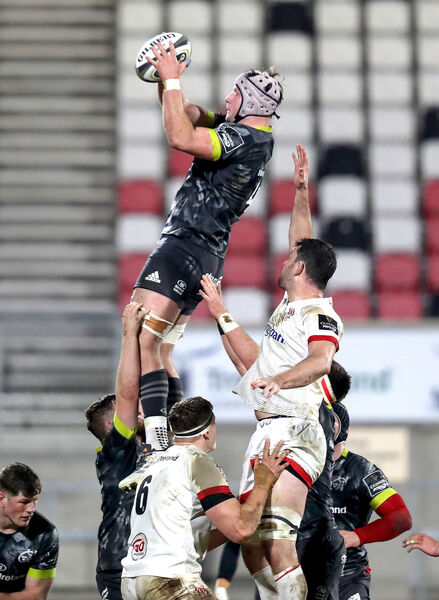 Munster's Fineen Wycherley wins a line out ball. Picture: INPHO/Bryan Keane