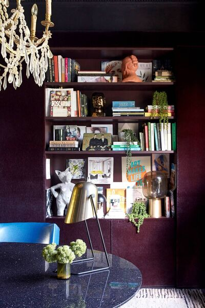 'Fabulous features' - A collection of quirky objects and books turn a dull corner into a feature in Abigail Ahern's home. Picture: Graham Atkins-Hughes/PA
