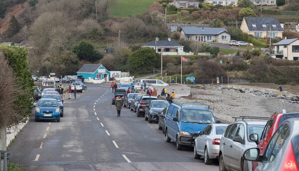 Fountainstown, Cork, Ireland. 02nd January, 2021. With new restrictions in place to quell the spread of Coronavirus there was a busy Saturday afternoon with cars at the small coastal seaside resort of Fountainstown, Co. Cork, Ireland. - Picture; David Creedon / Anzenberger