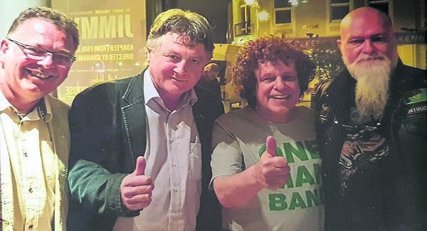 Tony, Fintan and Don Bloss with Leo Sayer at a Cork Opera House gig.