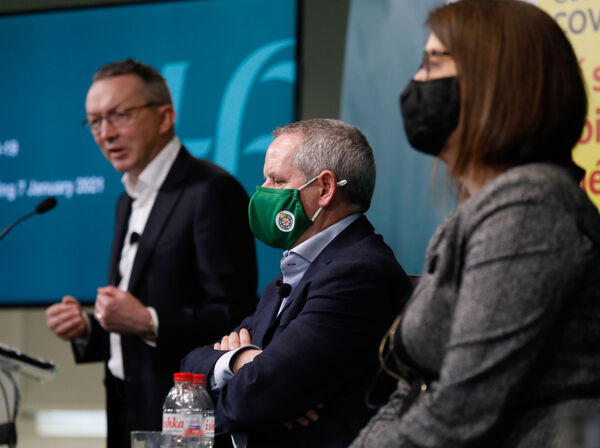 Pictured (l to r) are Chief Clinical Officer Dr Colm Henry; HSE CEO Paul Reid; and Anne O'Connor, Chief Operations Officer, HSE at the media briefing in Dr Steevens' Hospital for the weekly HSE operational update on the response to Covid-19. Photograph: Leon Farrell / Photocall Ireland