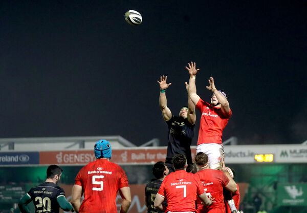 Connacht's Ultan Dillane and Fineen Wycherley of Munster. Picture: INPHO/James Crombie