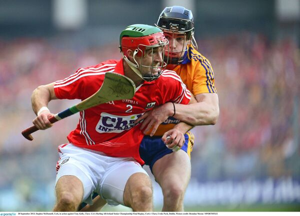 Stephen McDonnell, Cork, in action against Tony Kelly, Clare. Picture: Brendan Moran/SPORTSFILE
