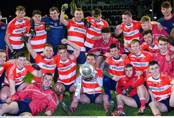 CIT players celebrate after the Trench Cup win. Picture: Piaras Ó Mídheach/Sportsfile