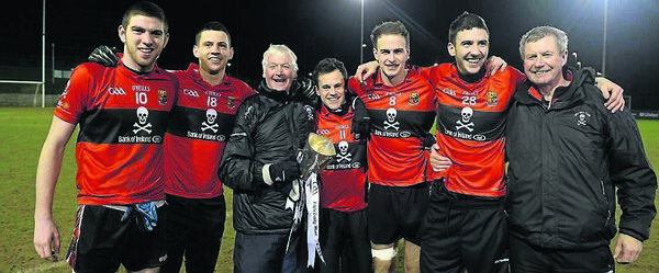 UCC manager Billy Morgan celebrates with Nemo's Luke Connolly, Kevin Fulignati, Alan Cronin, David Nation, Jack Horgan and Charlie McLaughlin after the Sigerson Cup final win over UUJ in 2014. Picture: Oliver McVeigh/SPORTSFILE
