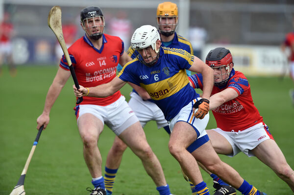 Carrigtwohill's Noel Furlong gets away from Erin's Own's Jack Sheehan. Picture: Eddie O'Hare